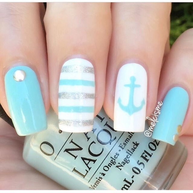WEBSTA @ hbbeautybar - ✨⚓ adorable nautical mani!! @melcisme OPI 'Gelato On  My Mind' - Instagram Analytics Pinterest Gelato, OPI And Make Up