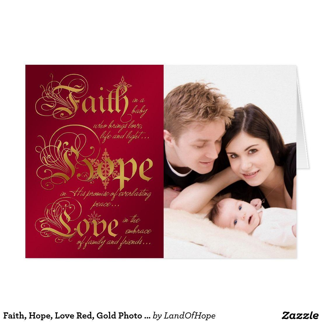 Faith, Hope, Love Red, Gold Photo Christmas Card | Custom CHRISTMAS ...
