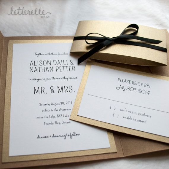Modern gold and black wedding invitations