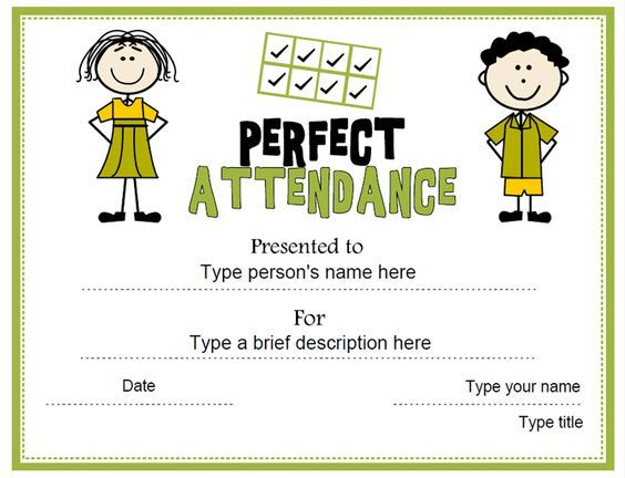 Education Certificate - Perfect Attendance Award - free perfect attendance certificate template