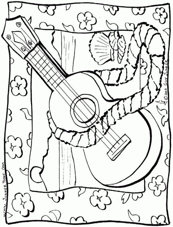 Hawaiian Ukulele Coloring Page Free Printable