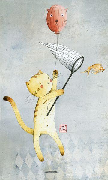 Cat With Balloon Illustration by Judith Loske www.judith-loske.de