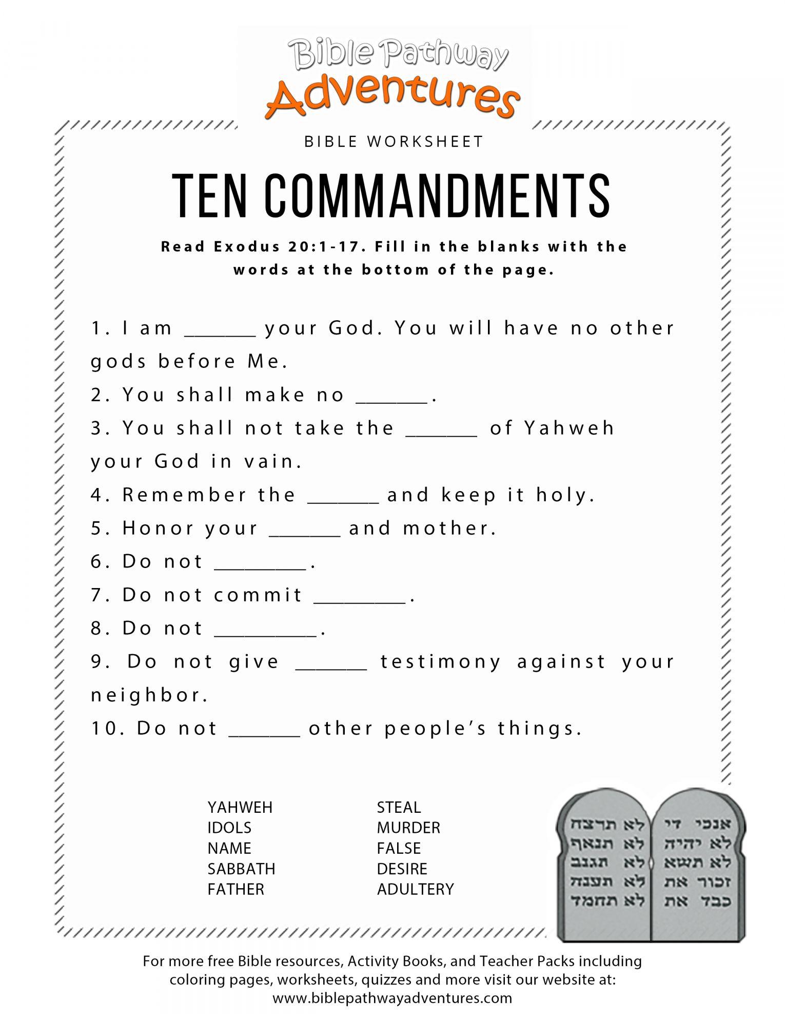 9 Ten Commandments Worksheet For Preschool