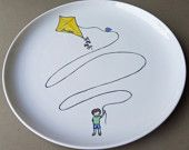 Boy with kite personalized hand painted porcelain plate (large) - custom gift for a boy