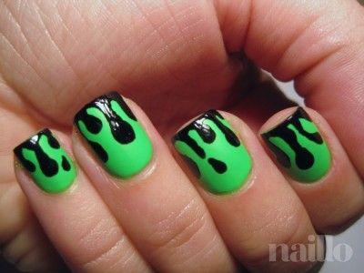 Fine Green Fluo Dripping Paint Nail Art Design Beauty Pinterest