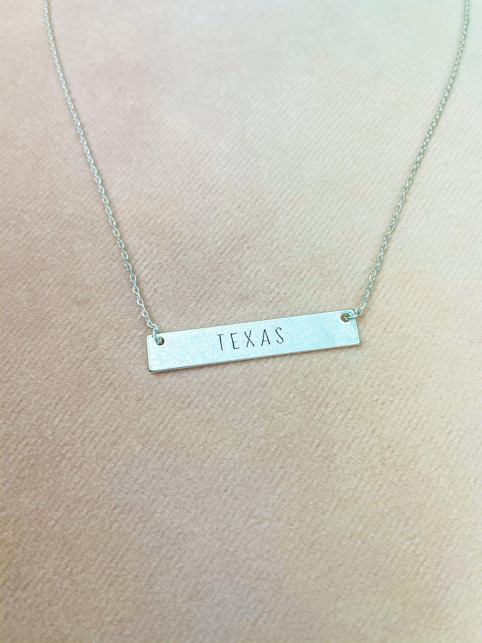 Texas Plaque Necklace - Silver