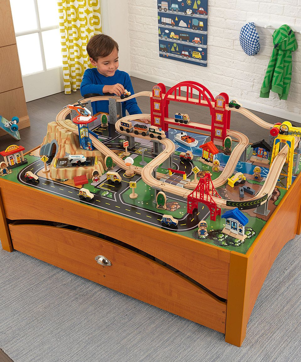 Look at this #zulilyfind! KidKraft 100-Piece Honey Metropolis Train ...