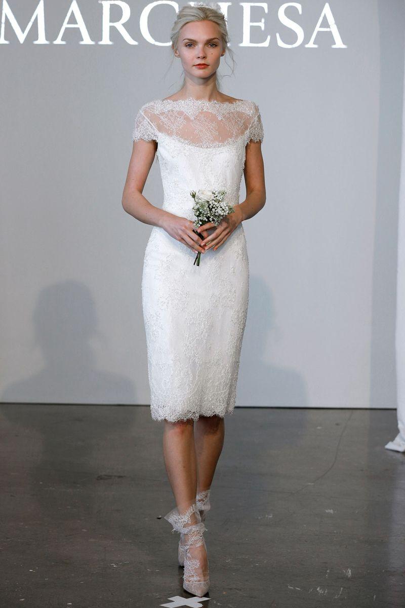 The Best Short Wedding Dresses From Fall 2018 Bridal Week Short Designer Wedding Dresses Tea Length Wedding Dress Wedding Dresses