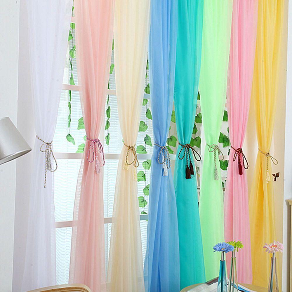Window Curtain Drape Panel Scarf Valances Sheer Voile Room Divider