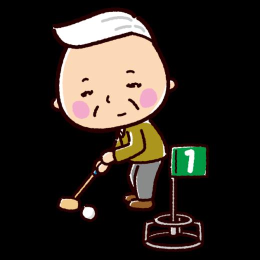 グランドゴルフをする老人のイラスト 2カット ゴルフ チアリーダー イラスト