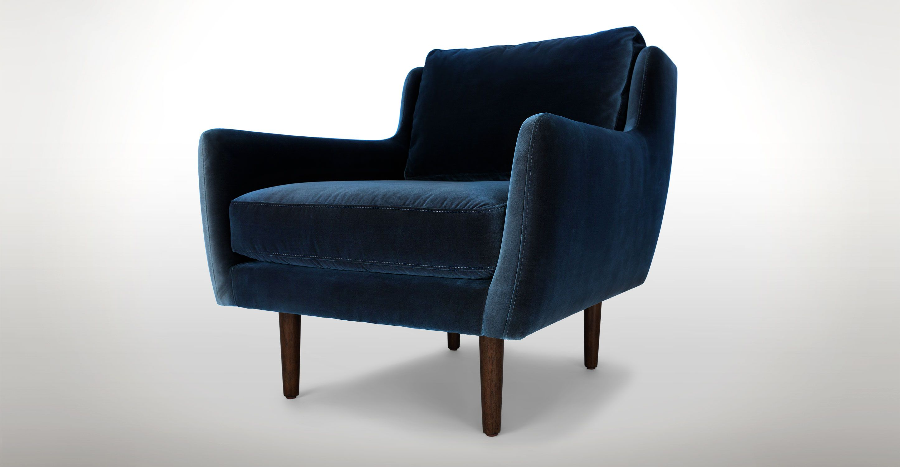 Beautiful Blue Velvet Chair   Walnut Wood Legs | Article Matrix Contemporary Furniture