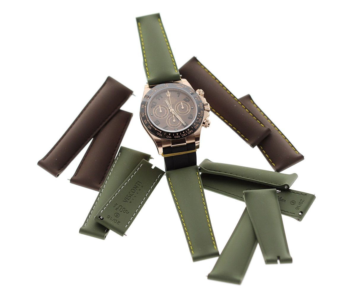 Natural Rubber Bands for Rolex Daytona Watches 20mm by Visconti Milano #rolexdaytona