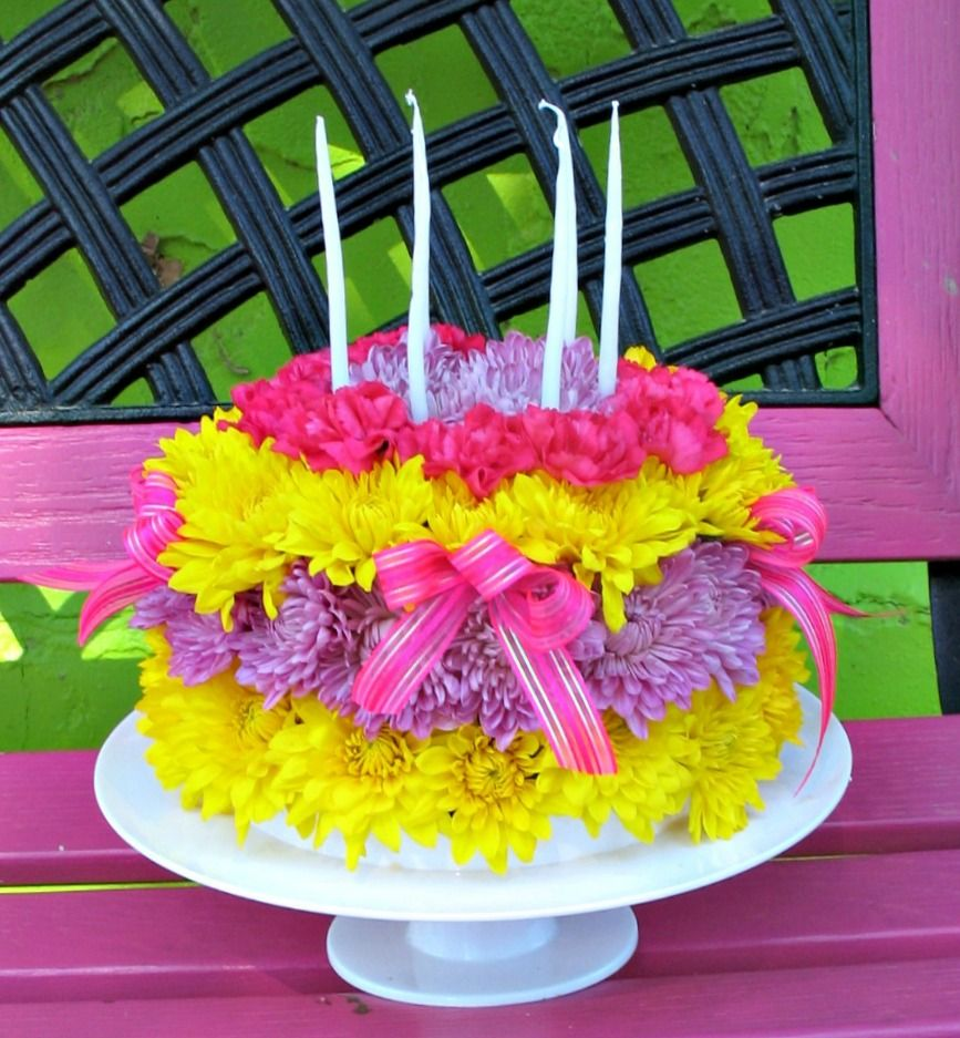 happy birthday cake and flowers pictures