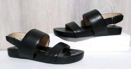 8925c0c58bc7 Details about Womens Isaac Mizrahi Jackson Black Leather Open Toe ...