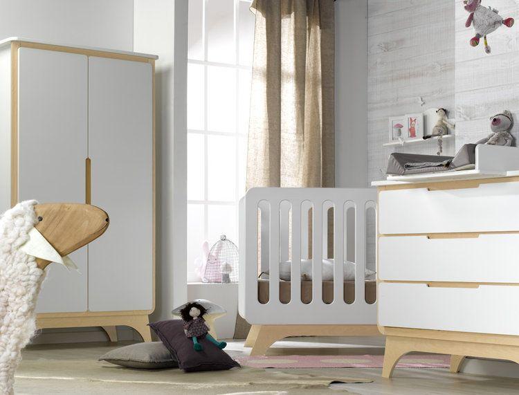 Armario bebé FELIZ 2 puertas Blanco/Abedul | Abedul, Armarios de ...