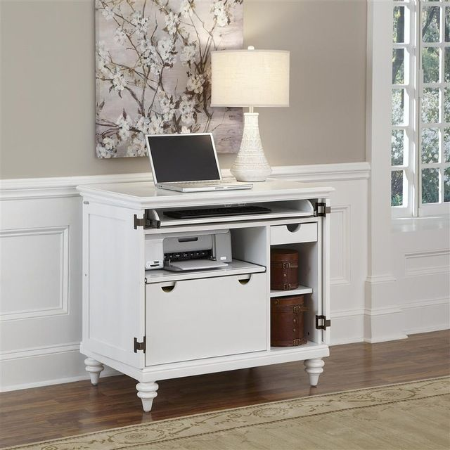Brushed White Compact Computer Cabinet Traditional Desks