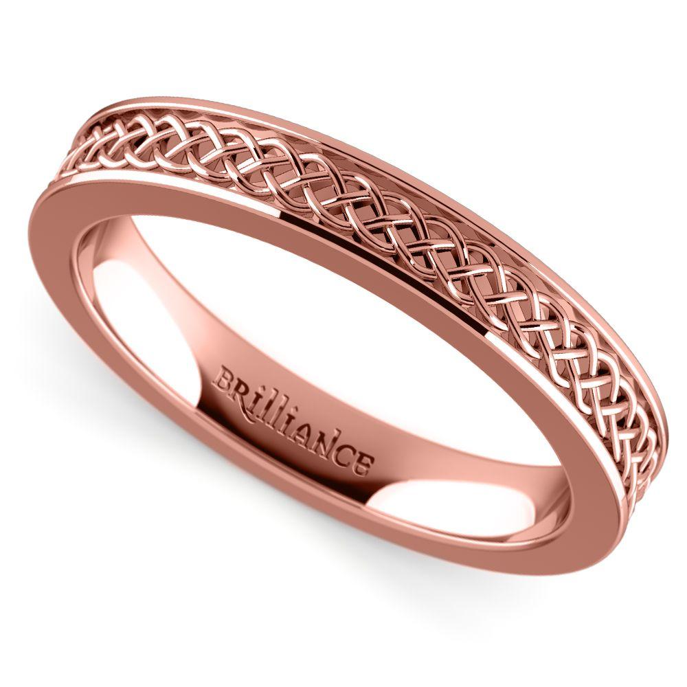 Celtic knot mens wedding ring in rose gold mens wedding