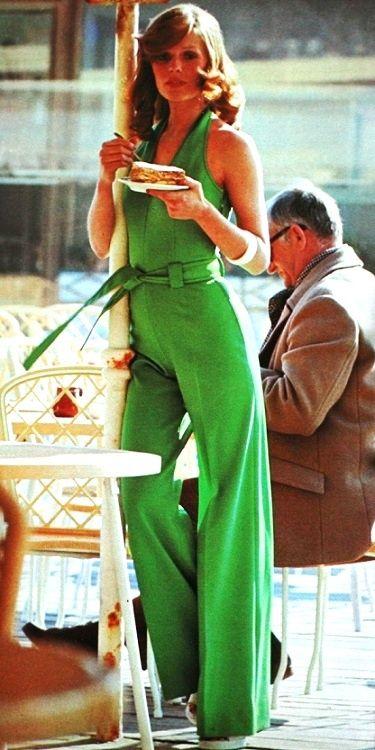 Model wearing an emerald green jumpsuit, 1972.