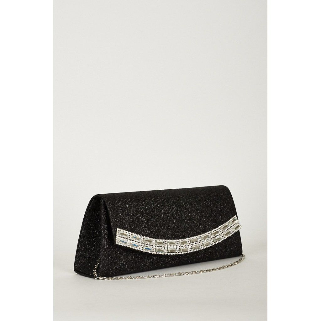 Posh Shiny Clutch Bag With Glass Beads And Diamond Details