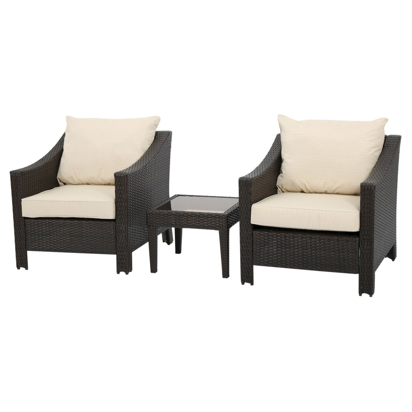 Christopher Knight Home Outdoor Antibes 3pc Wicker Chat Set with ...