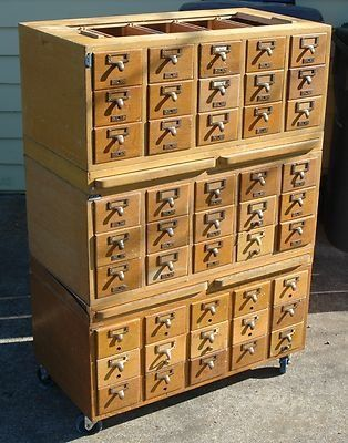 Antique Library Card File 45 Drawer Vintage Oak Index Cabinets Used New For Want This Baseball Storage
