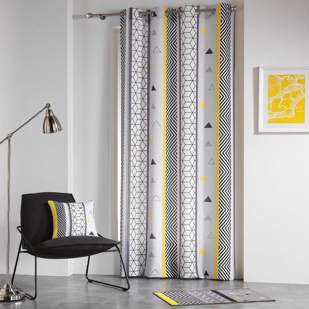 rideau oeillets design g om trique jaune gris macot. Black Bedroom Furniture Sets. Home Design Ideas