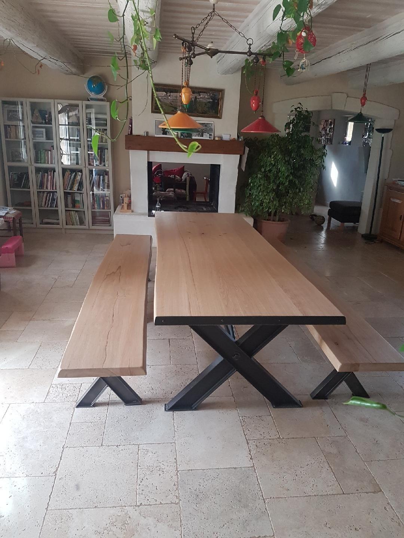 Table À Manger Industrielle table et bancs en fer et bois industriels salle à manger