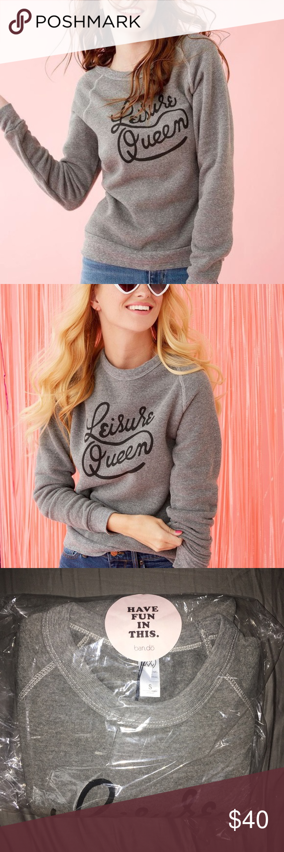 """ban.do  """"Leisure Queen"""" Pullover Discontinued! Was given 2 as gifts so I have an extra one to pass along! Super soft and cute. ban.do Tops Sweatshirts & Hoodies"""