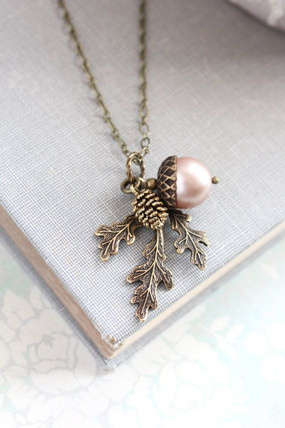 Almond Blush Pearl Acorn Necklace Acorn Charm Pendant Bridesmaid Gift Nature Pinecone Branch Leaf Ru