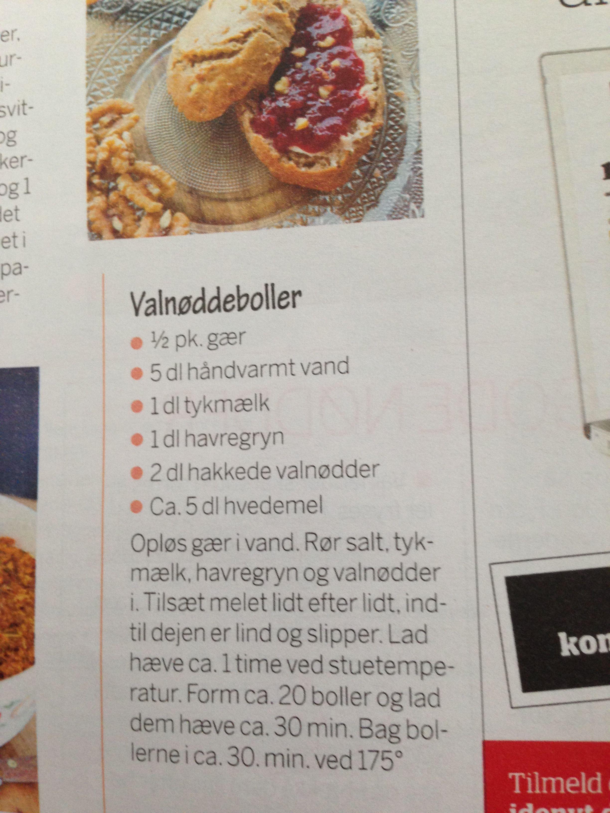 Valnødde Boller Brød Boller Kiks Og Knækbrød I 2019 Pinterest