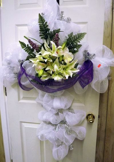 Easter Cross with Deco Mesh