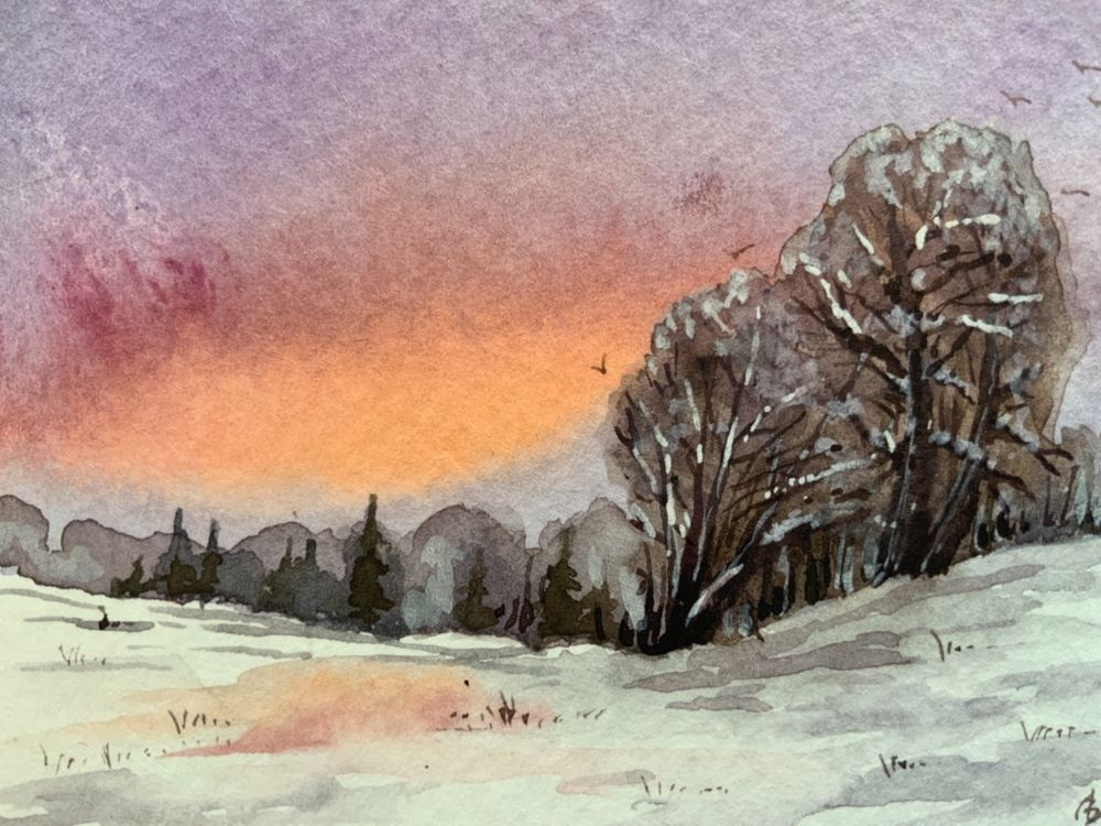 Aceo Original Watercolor Painting Winter Landscape Signed By