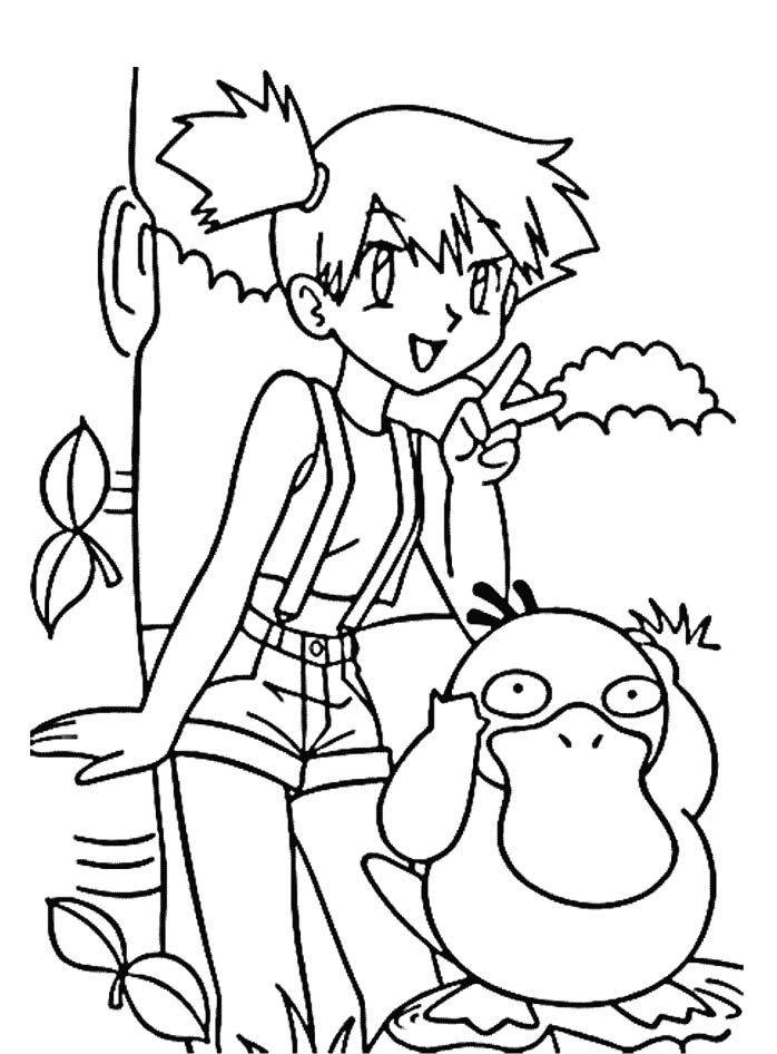 Misty And Psyduck Coloring Page