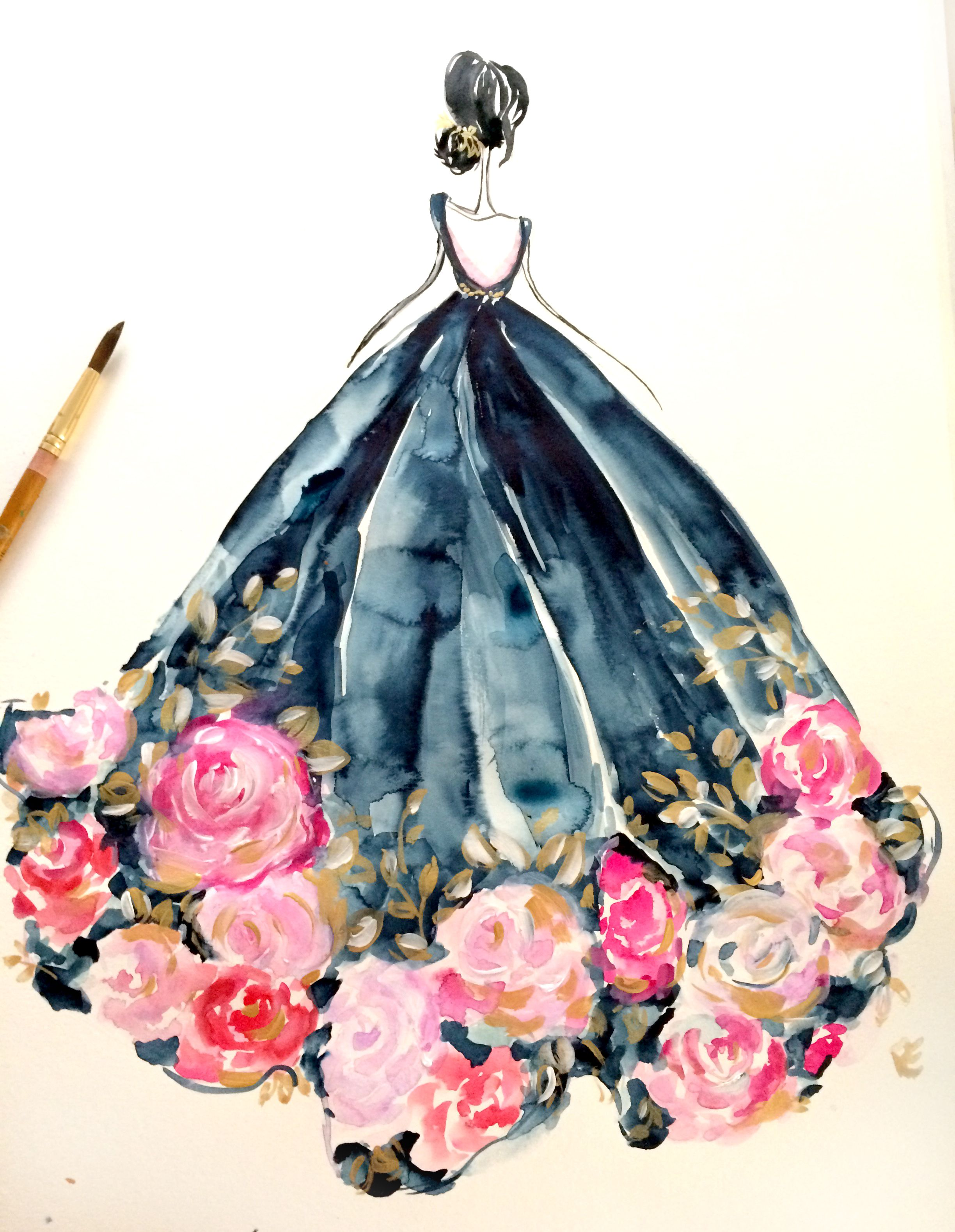 Pink dress illustration  Pin by Mei Ting Pong on Card ideas  Pinterest  Elie saab gowns