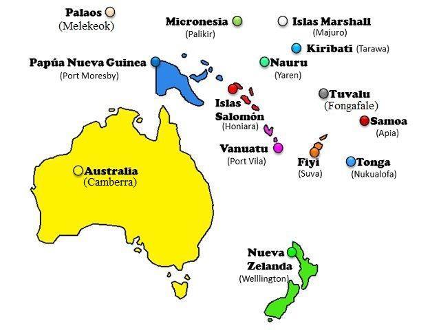 Paises Y Capitales Del Mundo Mapa De Oceania Continentes Nueva