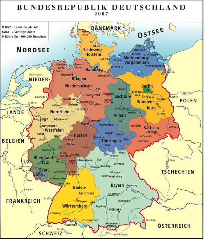 deutschland politische karte bundesländer Landkarte Deutschland (politische Karte/Bunt) | Landkarte