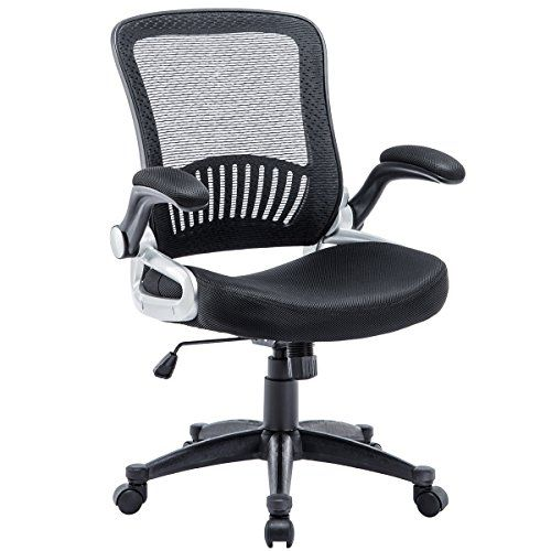 Office Chair Rollerblade Wheels Stool For Vanity Kerms Ergonomic Adjustable Swivel With Lumbar Support And Mid Back Breathable Mesh Thick Seat Cushion Flip Up Arms Desk