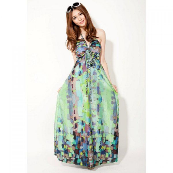 0716bfdb9 Bohemian Halterneck Sleeveless Ruffles Floral Printed Slimming Dacron Dress  For Women