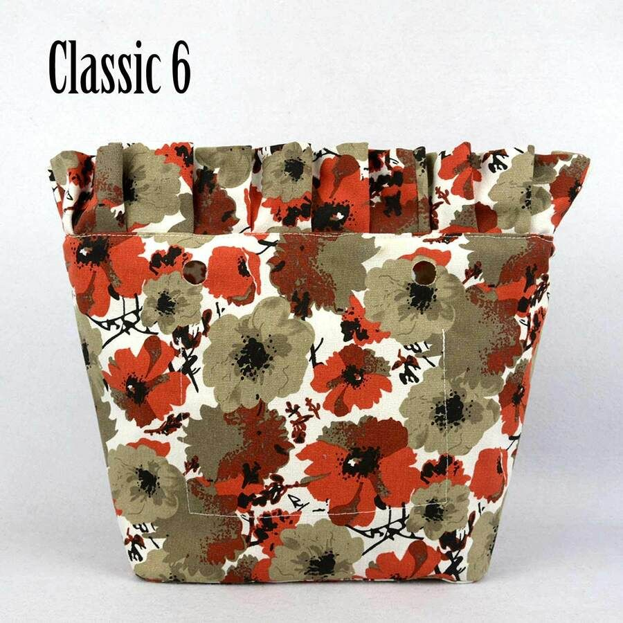 New Frill Pleat floral canvas inner pocket Insert for Classic Mini Obag O Bag