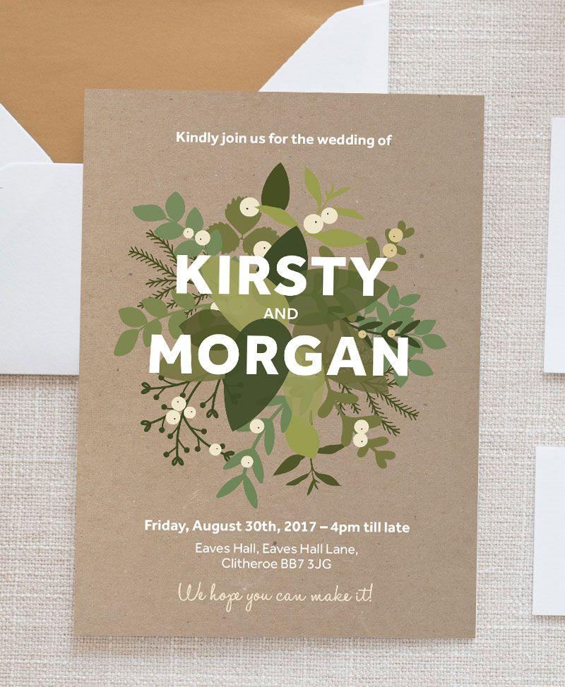 Sweet Mistletoe Wedding Invitation - Invitation, RSVP, Save the Date Bundle Kit