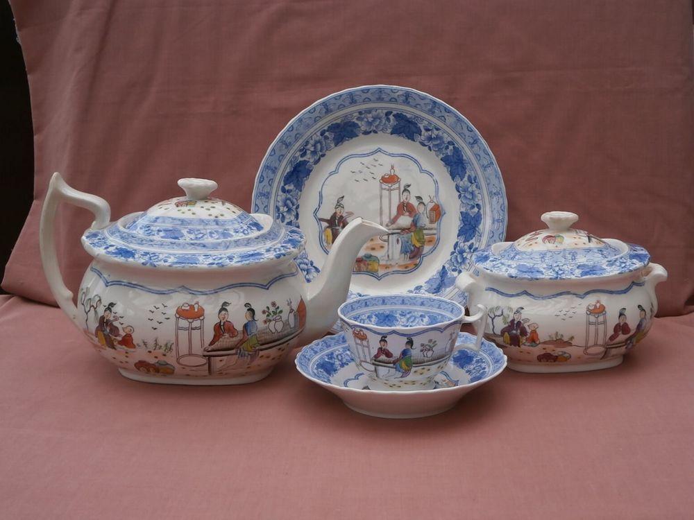 London Shape Teapot Sucrier Cup Saucer Plate c1820 \ Mrs Bowring\  ? & London Shape Teapot Sucrier Cup Saucer Plate c1820 \
