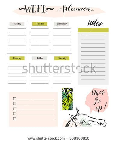 Hand made vector abstract simple textured scandinavian and tribal - Agenda Planner Template