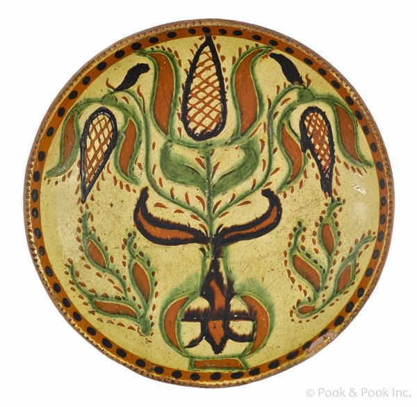 Realized Price 21600 Berks County Pennsylvania Redware Sgraffito Plate Ca 1820 Attributed To Solomon Grimm With Potted T Sgraffito Pottery Tulip Decor