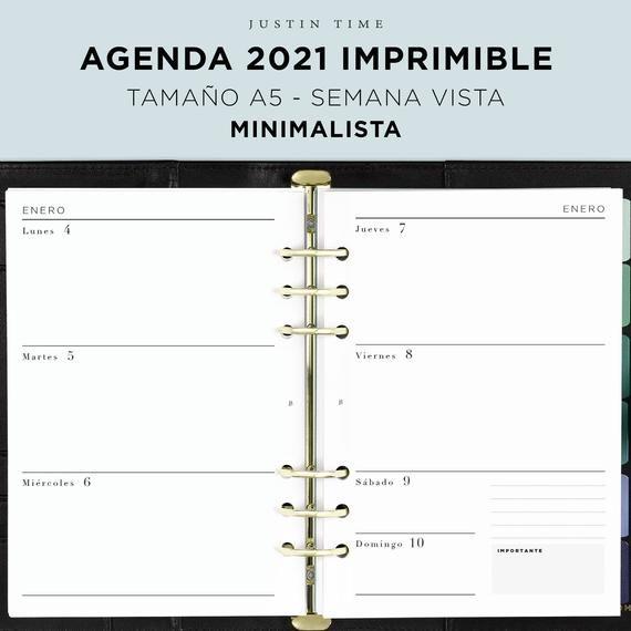 Agenda Imprimible 2022 A5 Minimalista En Espanol Agendas Planificador De La Vida Paginas De Agenda