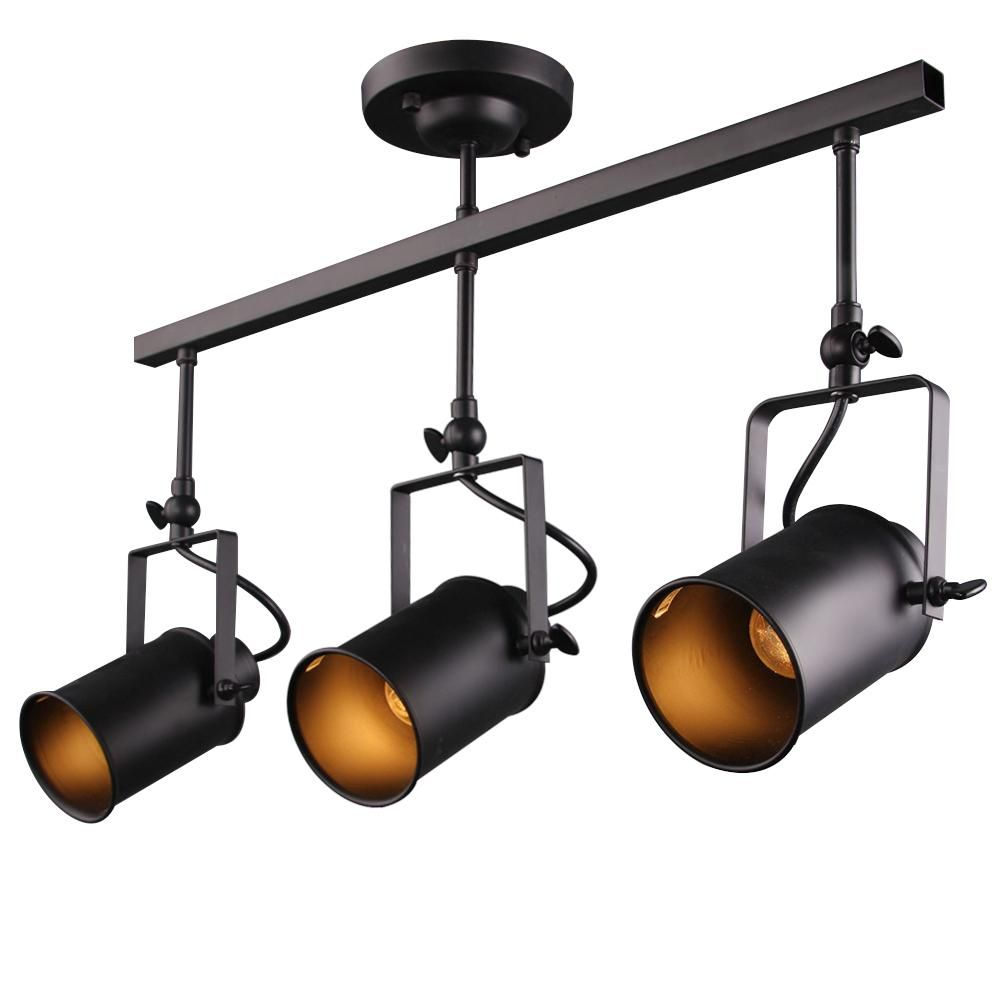 Lnc 2 Ft 3 Light Black Track Lighting Kit A02941 In 2020 Industrial Ceiling Lights Industrial Track Lighting Track Lighting Fixtures