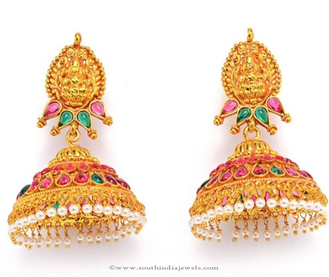 And contemporary gold jhumkas collection by khazana jewellery - Buy Gold Plated Antique Jhumka Online Buy Gold Plated Jhumka Online