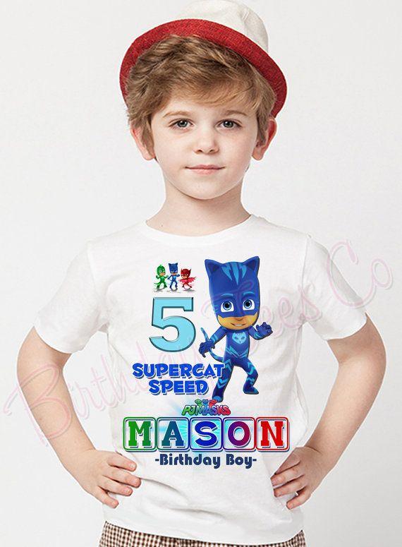 9a5353325 Customized PJ Masks Shirt Add Name & Age Custom by BirthdayTeesCo Minion  Birthday, Birthday Shirts
