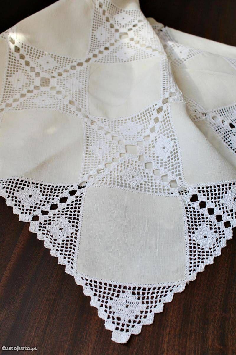 Toalha em linho e crochet - à venda - Têxteis lar & Utilidades ...