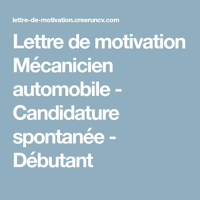 Lettre De Motivation Mécanicien Automobile Candidature