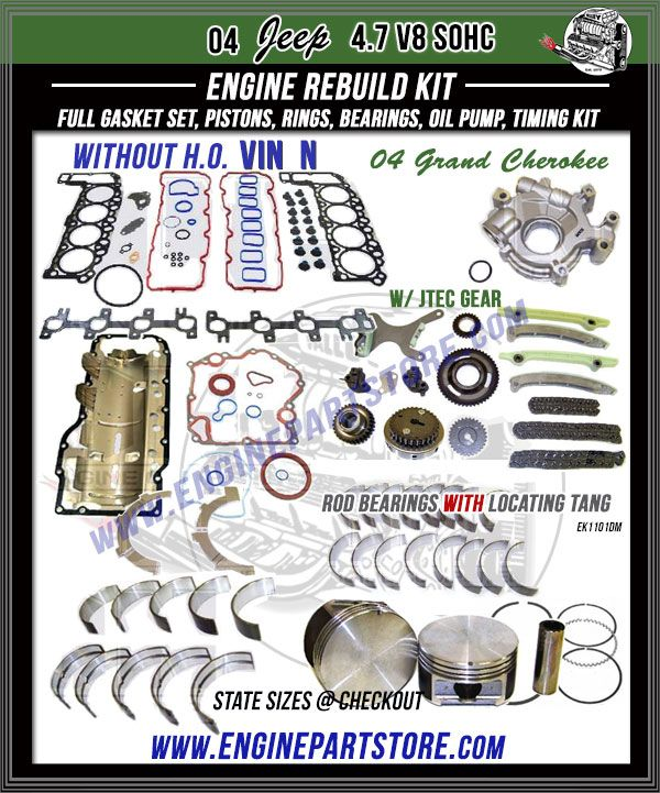 04 Jeep Grand Cherokee 4 7 V8 Sohc 16v Engine Rebuild Kit Vin N W